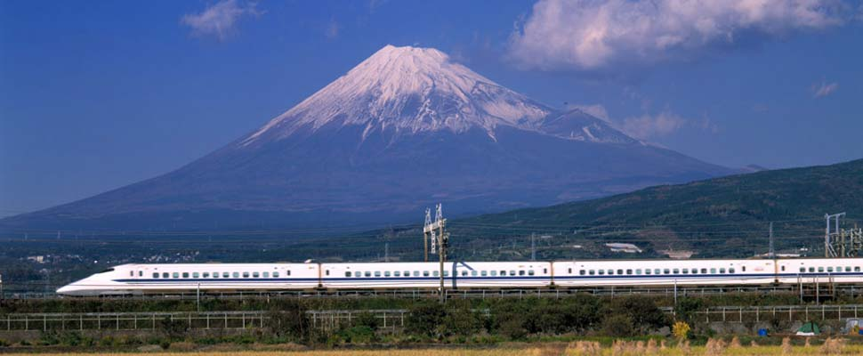 Bullet train and Mount Fuji
