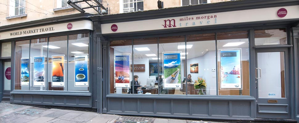 Miles Morgan Travel and World Market Travel shop in Bath